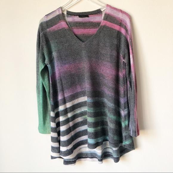 Nally & Millie Sweaters - Nally & Millie Striped V-Neck Sweater